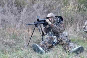 John Alden's special .243, made for long-range varmint hunting, is mated with a powerful, night-vision scope.