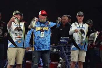 Tommy Floyd Jr. (left) and James Gibbons (right) of South Florence High School won the 2018 Mossy Oak Fishing Bassmaster High School Classic last weekend at Lake Keowee.